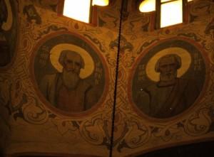 Inside an Orthodox church in Bulgaria.