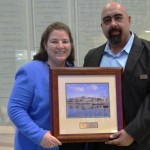Aquarium of the Pacific Trustee, Dr. Martha Molina-Bernadett, presented Homeboy Industries with an award on March 14. Jose Osuna is the director of employment services at Homeboy Industries and a Long Beach resident. He accepted the award on behalf of the organization.