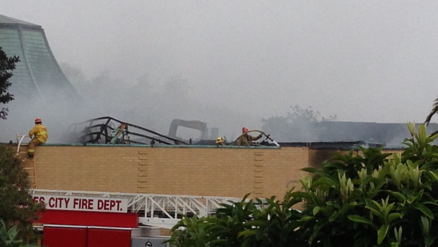 On April 15 firefighters fought a fire at the San Pedro Elks Lodge #966. Photo by Lisa DiLeva
