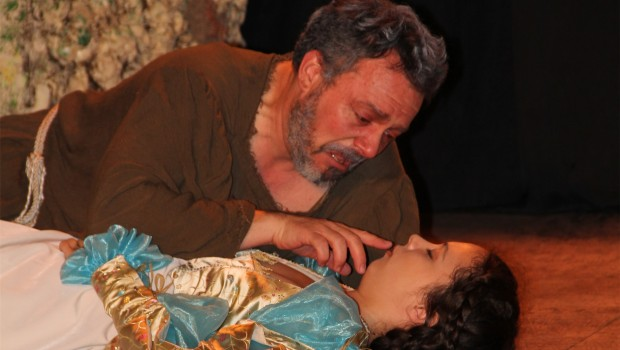 King Lear attempts to revive Cordelia.   Carl Wawrina and Lauren Velasco.  Photo by Cindy Rinks