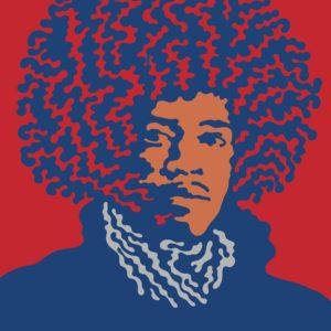 """Pinnacle Hendrix"" by John Van Hamersveld. © 2014 John Van Hamersveld/Coolhous Studio"