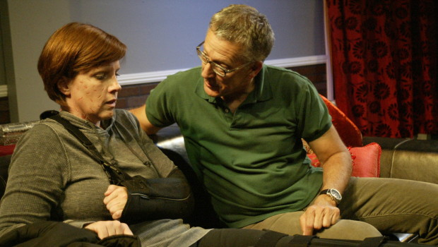 Karen Harrison and Richard Perloff in Donald Margulies' Time Stands Still, directed by Patrick Vest.  Runs Sept. 6 at Little Fish Theatre.  Photo by Mickey Elliot