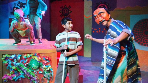 Isaiah Cazares (Itzali), Suzanne Santos (Halipi), Noah Logan Martinez (J.J. Tovar) and David Guerra (Grandfather) in the World Premiere Production of Piñata Dreams written by Josefina López, directed by Corky Dominguez, presented by CASA 0101 Theater, December 4 – 28, 2014 – Photo by Ed Krieger