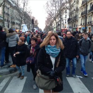 Taking to the streets at the Unity March, Paris, Sunday, 11 January.