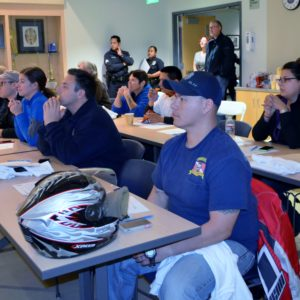 About 50 volunteers listen  to a  training session, Jan. 28, at the LAPD Harbor Division's Community Room before participating in the 2015 Greater Los Angeles Homeless Count . Photo by Betty Guevara