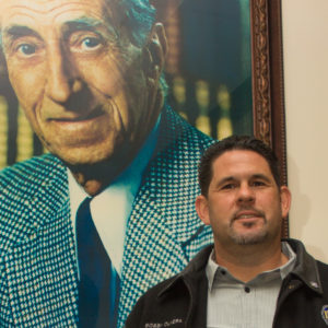 ILWU Local 13 President Bobby Olvera beneath the watchful gaze of union founder, Harry Bridges. Photo by Phillip Cooke