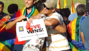 Ernesto Higuera, 34, hugs his fellow LGBTQ supporter at a victory rally at the Long Beach Civic Center that celebrated the Supreme Court's ruling that legalized same-sex marriage on June 26. Photo by Crystal Niebla