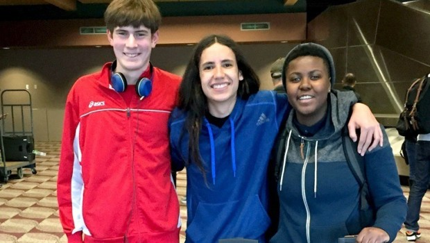 Three of the 21 youth plaintiffs, (L-R) Nathan, Xiuhtezcatl and Victoria arriving in Eugene, Oregon, Tuesday from Alaska, Colorado and New York. Photo credit: Our Children's Trust