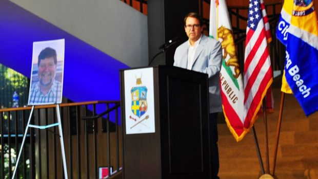 Longtime friend Mike Shimpock spoke at Eric Bradley's celebration of life ceremony June 21 at the Terrace Theater in Long Beach. Photo by Diana Lejins.