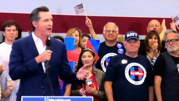 Lt. Gov Gavin Newsom helped introduce Hillary Clinton, June 6, at a rally at Long Beach City College. Photo by Diana Lejins.