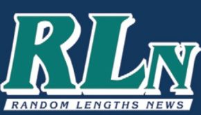 Random Lengths News Logo with blue background