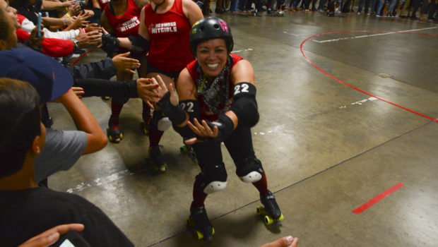 Fans cheered their favorite teams at the bout between the Redondo Riots (blue) and the Hermosa Hitgirls (red), Sept. 9 at the Longshore Memorial Hall in Wilmington. Photo by Linnea Stephan