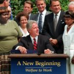 President Bill Clinton prepares to sign legislation in the Rose Garden of the White House Thursday, Aug. 22, 1996, overhauling America's welfare system. Visible, from left, are former welfare recipients Lillie Harden, of Little Rock, Ark., and Janet Ferrel, of West Virginia, Vice President Gore, West Virginia Gov. Gaston Caperton, Sen. John Breaux, D-La., and former welfare recipient Penelope Howard, of Delaware. (AP Photo/J. Scott Applewhite)