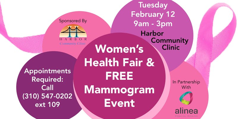 Harbor Community Clinic Poster for Women's Health Fair and free mammogram event