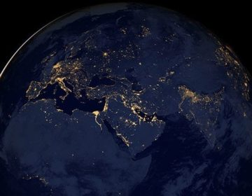 Satalite photo of Earth over Africa, Europe and the Middle East at night. NASA Earth Observatory image
