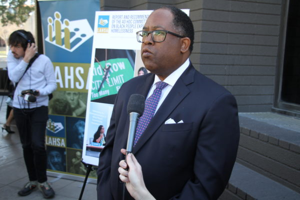 Los Angeles County Supervisor Mark Ridley-Thomas speaking to reporters at the Black People Experiecing Homelessness event at the California Africam American Museum. Photos by Dennis J Freeman