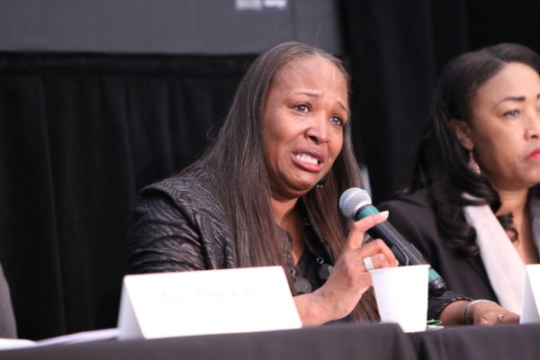 Reba Stevens talks about her experience as homeless. Photos by Dennis J Freeman