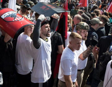 Michael Miselis, standing in the crowd with both arms raised, was front and center during the violence in Charlottesville. (Edu Bayer, special to ProPublica)