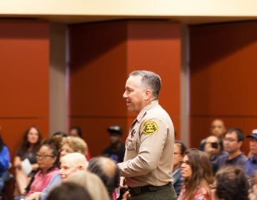 Sheriff Alex Villanueva at a Lomita town hall meeting in 2019.