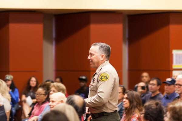 Sheriff Alex Villanueva at a Lomita town hall meeting in 2019.
